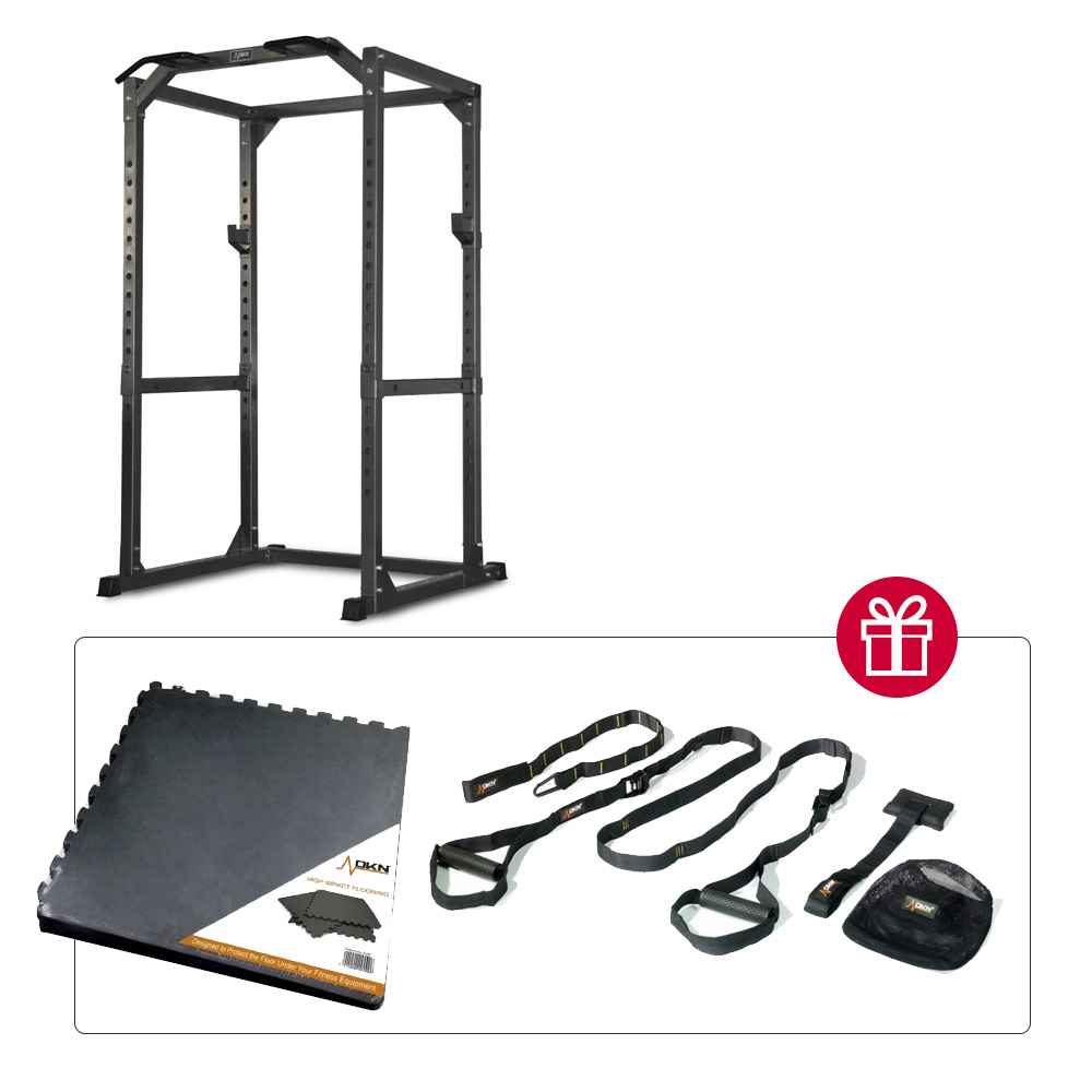 Dkn POWER RACK + SET DI 6 LASTRE DI PROTEZIONE E SUSPENSION TRAINER in regalo